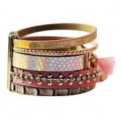 bracelet-cuir-dominante-rose-multiples-bracelets-pompon-motifs-or-fermoir-aimant