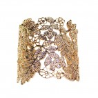 Bracelet acier, couleur or rose, motif fleur en style dentelle découpée. Bracelet jonc acier baroque ajustable