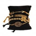 Bracelet vintage en acier couleur or-bronze. Bracelet multiple ajustable en alliage de zinc à cordes.