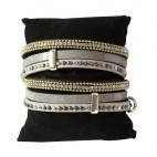 Bracelet en cuir à dominante gris avec 5 bracelets doubles, style bohème, multiples motifs, strass et clous, fermoir à aimant