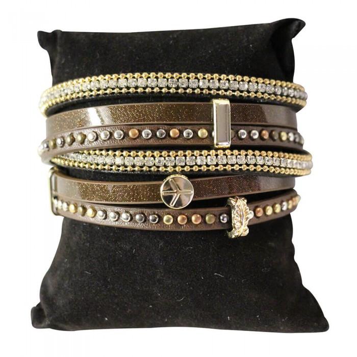 Bracelet en cuir à dominante marron avec 5 bracelets doubles, style bohème, multiples motifs, strass et clous, fermoir à aimant