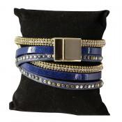 Bracelet en cuir à dominante bleu avec 5 bracelets doubles, style bohème, multiples motifs, strass et clous, fermoir à aimant