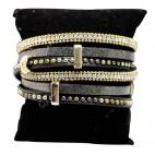 Bracelet en cuir à dominante noir avec 5 bracelets doubles, style bohème, multiples motifs, strass et clous, fermoir à aimant