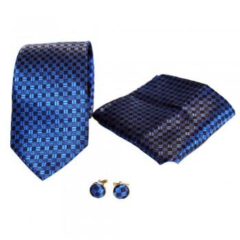 Coffret cravate, pochette costume et boutons de manchette en soie, bleu à petits carreaux bleus