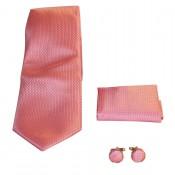 Coffret cravate, pochette costume et boutons de manchette en soie, rose uni piqué