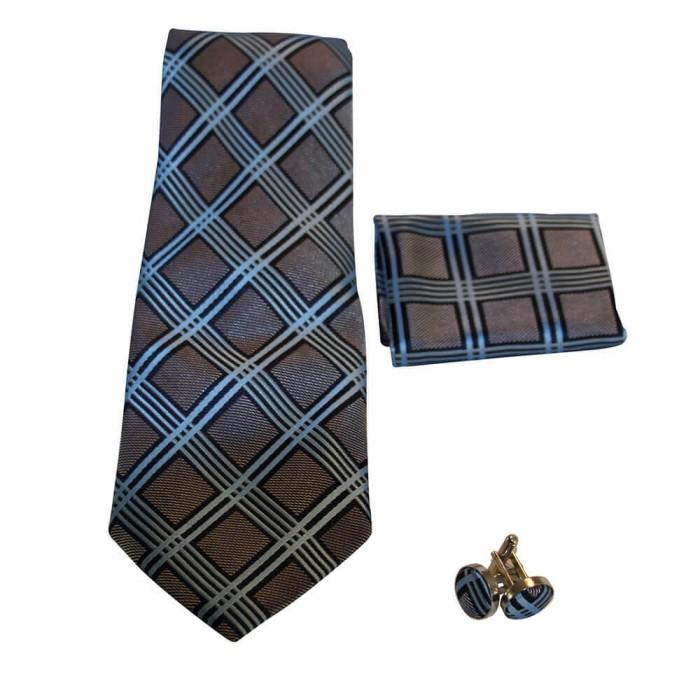Coffret cravate, pochette costume et boutons de manchette en soie, marron gris à rayures bleues et noires