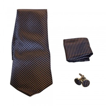 Coffret cravate, pochette costume et boutons de manchette en soie, micro carreaux bleu marine, noir, rose et beige