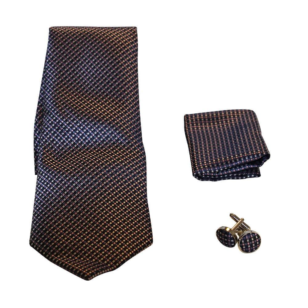 a8b466d310576 Coffret cravate, pochette costume et boutons de manchette en soie, micro  carreaux bleu marine, noir, rose et beige