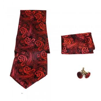 Coffret cravate, pochette costume et boutons de manchette en soie, rouge et noir à motifs baroques