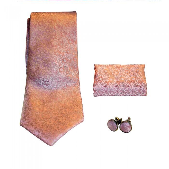 Coffret cravate, pochette costume et boutons de manchette en soie, rose uni à micro motifs fleurs