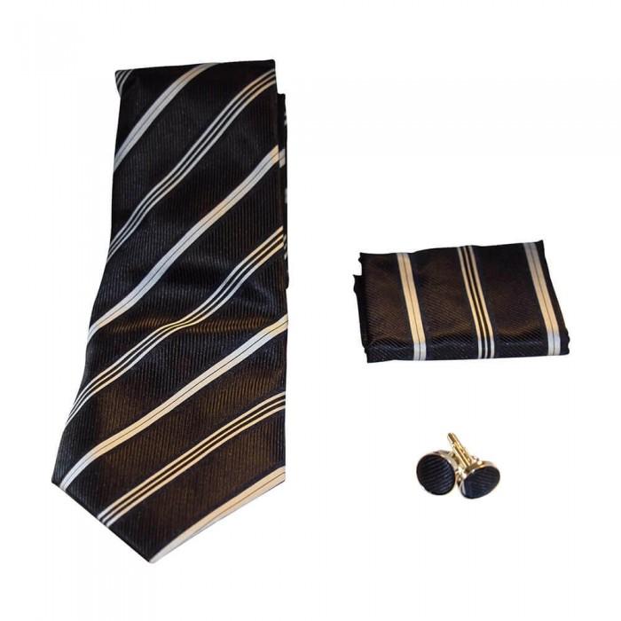 Coffret cravate, pochette costume et boutons de manchette en soie, bleu marine à grosses rayures blanches