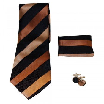 Coffret cravate, pochette costume et boutons de manchette en soie, noir à rayures marron et beige