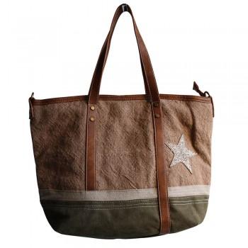 Sac à main camel et kaki en tissu toilé, façon jean, avec motif étoile à paillettes, rivets et détails simili-cuir
