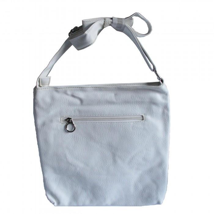 Besace sacoche blanche en simili cuir originale avec multiples poches et rangements
