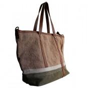 rivets et d/étails simili-cuir fa/çon jean Sac /à main camel et kaki en tissu toil/é Camel Tissu Shopping-et-Mode avec motif /étoile /à paillettes