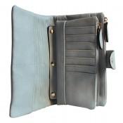 Organisateur de sac, compagnon, portefeuille bleu pâle en simili-cuir souple, avec porte-monnaie amovible