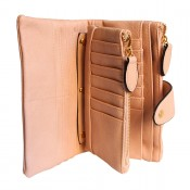 Organisateur de sac, compagnon, portefeuille rose poudré en simili-cuir souple, avec porte-monnaie amovible