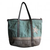 Sac à main vert d'eau et camel en tissu toilé, façon jean, avec motif étoile à paillettes, rivets et détails simili-cuir