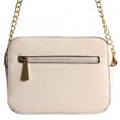 Petit sac à main besace en bandoulière blanc avec détails dorés