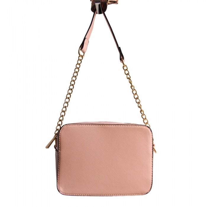 Petit sac à main besace en bandoulière rose avec détails dorés