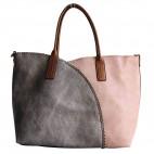 Sac en simili-cuir 4 couleurs, gris rose blanc et bleu marine, avec surpiqures et détails camel. Pochette amovible fournie.