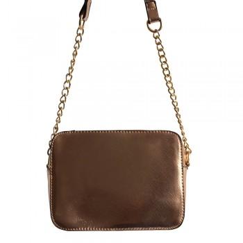 Petit sac à main besace en bandoulière or - champagne avec détails dorés