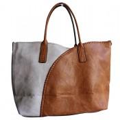 Sac en simili-cuir 4 couleurs, noir blanc gris et camel, avec surpiqures. Pochette amovible fournie.