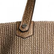 Sac à main beige de grande contenance, style tressé, nid d'abeilles, avec poche paillettée