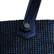 Sac à main bleu de grande contenance, style tressé, nid d'abeilles, avec poche paillettée