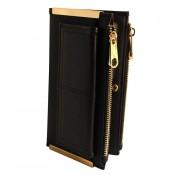 Portefeuille - porte-cartes noir en simili-cuir avec double rangement et détails dorés