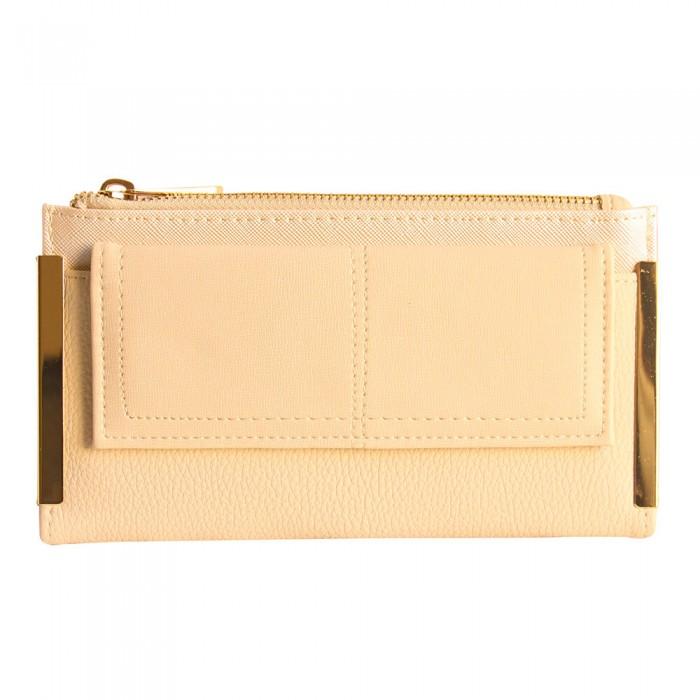 Portefeuille - porte-cartes beige en simili-cuir avec double rangement et détails dorés