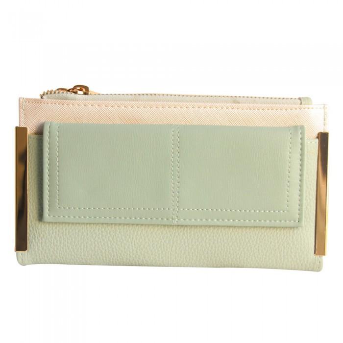 Portefeuille - porte-cartes vert d'eau en simili-cuir avec double rangement et détails dorés