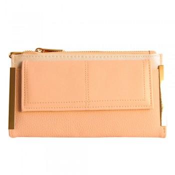 Portefeuille - porte-cartes rose poudré en simili-cuir avec double rangement et détails dorés