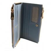 Portefeuille - porte-cartes bleu ciel en simili-cuir avec double rangement et détails dorés