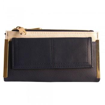 Portefeuille - porte-cartes bleu marine en simili-cuir avec double rangement et détails dorés