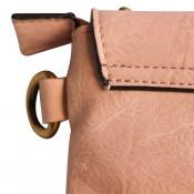 Pochette de soirée enveloppe rectangulaire rose à clous et tissu tressé