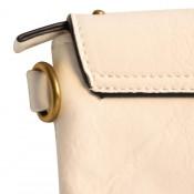 Pochette de soirée enveloppe rectangulaire blanc à clous et tissu tressé