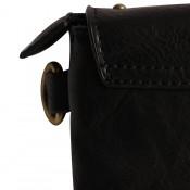 Pochette de soirée enveloppe rectangulaire noir à clous et tissu tressé