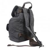 Sac à dos noir en tissu très pratique avec multiples poches extérieures et intérieures