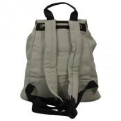 Sac à dos beige en tissu très pratique avec multiples poches extérieures et intérieures