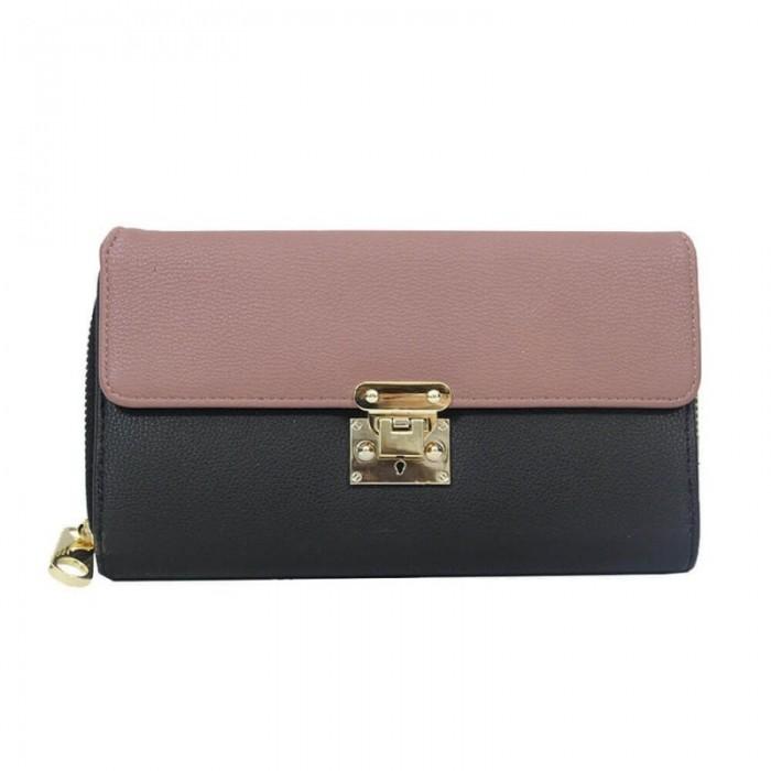 Organisateur de sac, compagnon, portefeuille bicolore, rose et noir, en simili-cuir avec multiples rangements