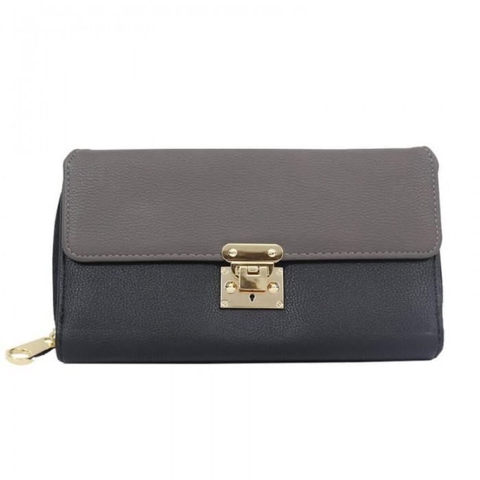 Organisateur de sac, compagnon, portefeuille bicolore, noir et gris, en simili-cuir avec multiples rangements