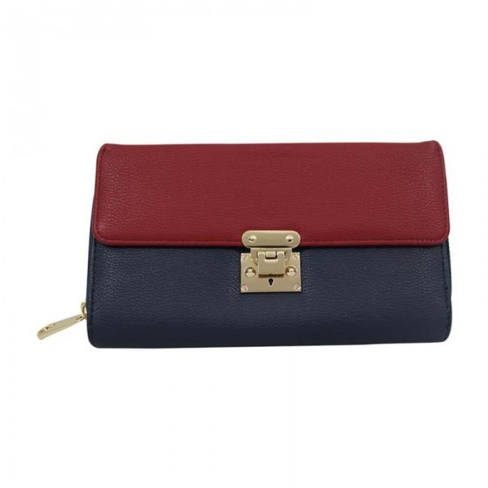 Organisateur de sac, compagnon, portefeuille bicolore, rouge et bleu, en simili-cuir avec multiples rangements