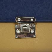 Organisateur de sac, compagnon, portefeuille bicolore, moutarde et bleu, en simili-cuir avec multiples rangements
