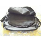 Besace sacoche noire en simili-cuir à franges avec doublure noire