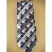 Coffret cravate, pochette costume et boutons de manchette en soie, motif géométrique noir et gris