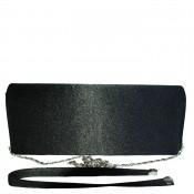 Pochette de soirée noire en tissu brillant très habillée