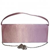 Pochette de soirée rose en tissu brillant très habillée
