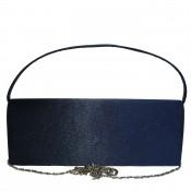 Pochette de soirée bleu nuit en tissu brillant très habillée