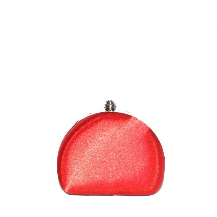 Pochette de soirée rouge arrondie en tissu brillant très habillée